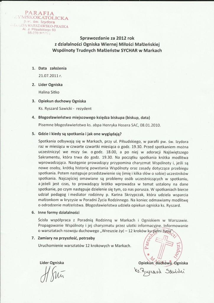 sprawozdanie W-wa Marki 2012