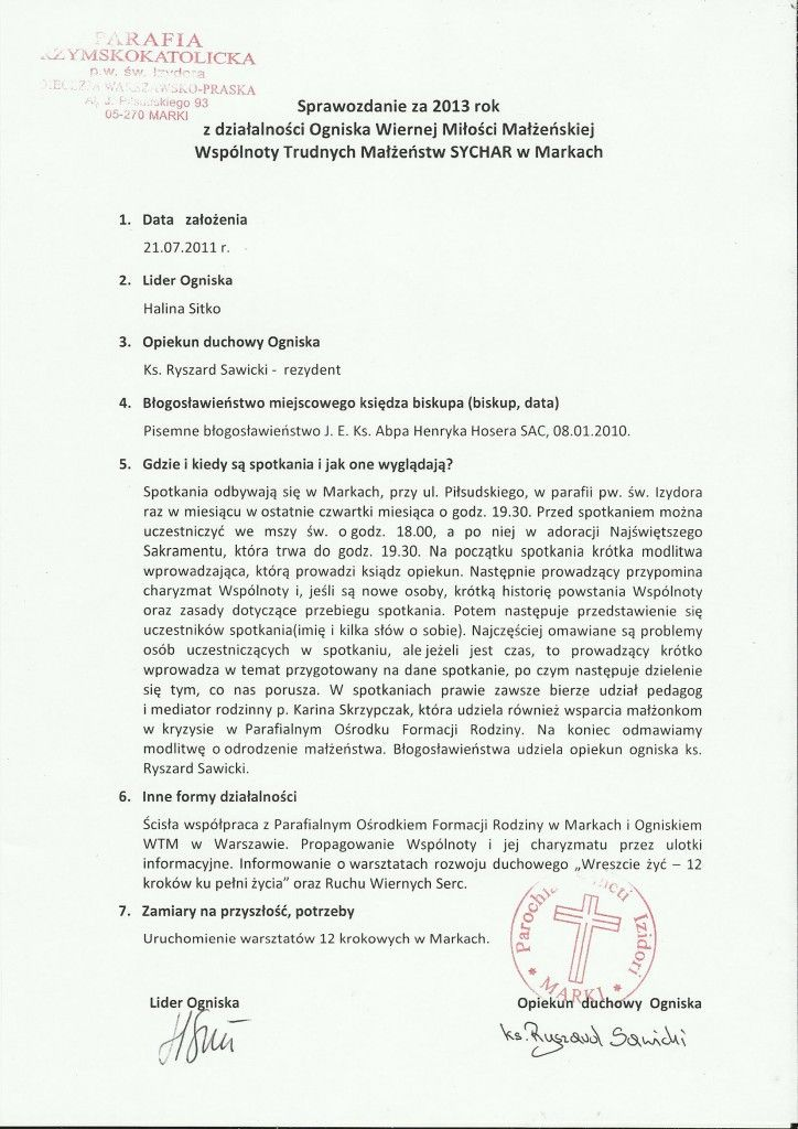 Sprawozdanie W-wa Marki 2013